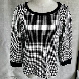 L'Agence L Black and white textured Sweater Top